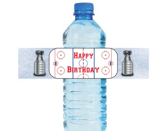 Hockey Water Bottle Labels Birthday Printable Hockey Labels Instant Download