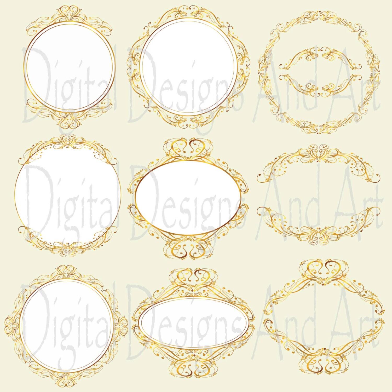 Gold wedding frames Gold circle frames Round frames Digital
