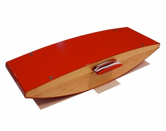 Hand made Huon Pine Jewelry Box or Watch Box and Valet Red with resin handle