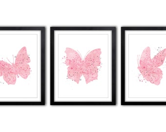 Butterfly Nursery Art, Pink and Gray Nursery, Butterflies, Nursery Decor, Baby Girl, Butterfly Artwork, Pictures for Girls Room - BS10