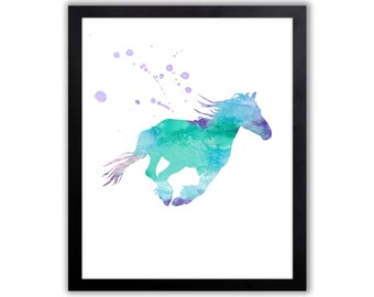 Horse Art Watercolor Painting Print, Home Wall Decor, Animal Watercolor Art, Animal Art Print For The Home, Equestrian Art - HO021
