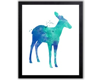 Watercolor Deer Art, Forest Theme Wall Decor, Modern Watercolor Print - WA018