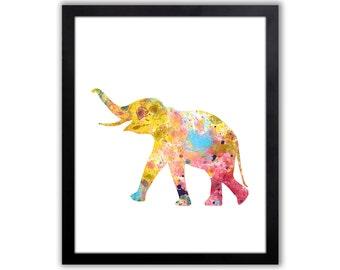 Abstract Watercolor Elephant Art - Elephant Wall Decor - Elephant Painting - EL003
