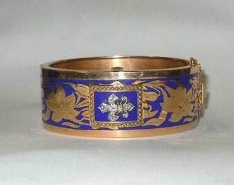 14kt Gold Diamond Pearl Fleur De Lis Bracelet Cuff Flip Watch