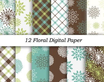 "INSTANT DOWNLOAD ""Floral Digital Papers"" 12x12 sheets 300 dpi RGB photoshop jpeg  patterns Dahlia Digital Scrapbook Paper Pack"
