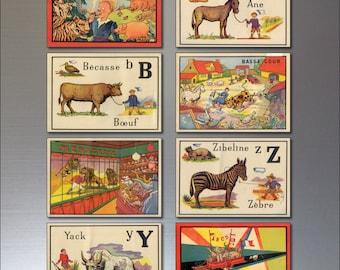 8 Vintage Retro French Children's Alphabet Fridge Magnets - Shabby, Chic,