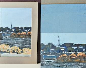 Vintage maritime painting, original gouache painting, gouache landscape, maritime landscape