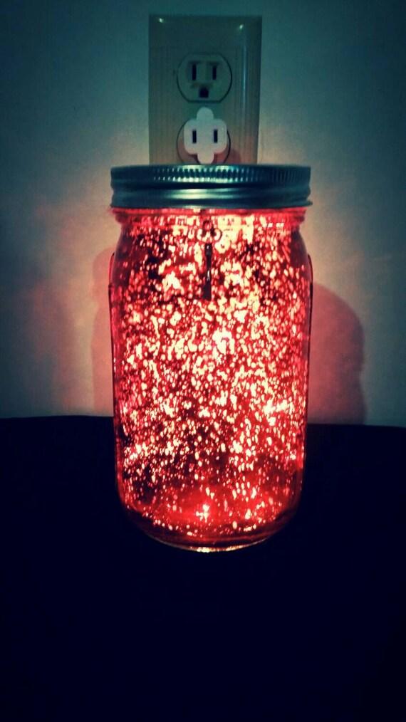 Red Festive Quart Size Mason Jar with