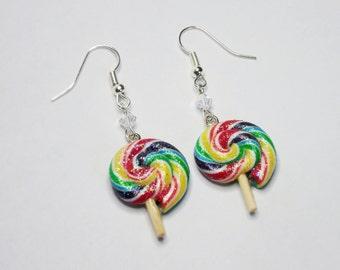 Rainbow Lollipop Earrings (Glitter/gloss)