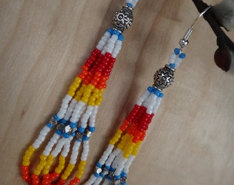 Native american earring. Loop seed beads. Native jewelry. Silver sterling. Full colors earring. American Indian