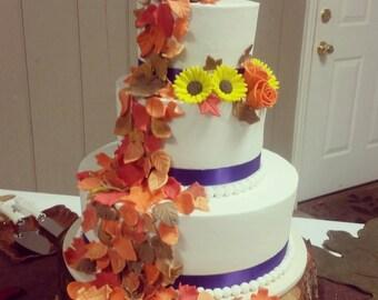 Handmade Edible Fondant Fall Leaves Cake Cupcake Toppers