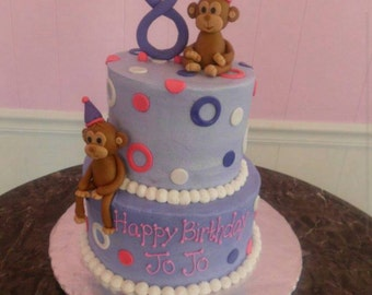 Handmade Edible Fondant Monkeys Cake Topper Set