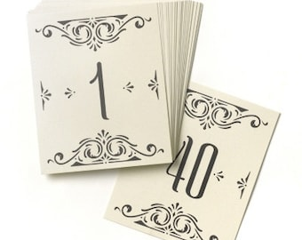 Ivory Table Number Cards for Wedding Reception and Parties