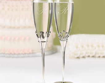 King and Queen Elegant Wedding Flutes Engraved Fairytale Wedding