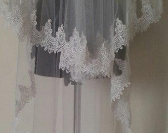 Royal alecon lace wedding veil, ivory lace veil, white veil, ivory veil, lace veil,white veil, white lace