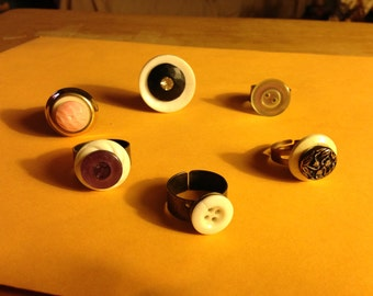Adjustable rings crafted from vintage buttons