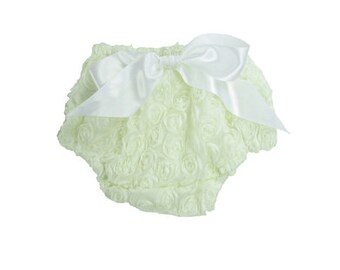 Baby Girl Ivory Rosette Bloomer, Baby Diaper Cover, Photo Prop