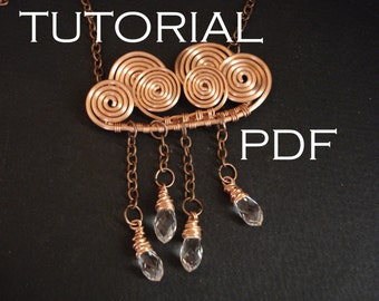 Cloud necklace tutorial, wire wrapped necklace tutorial, jewelry tutorial, wire necklace tutorial, tutorial in handmade, tutorial pendant