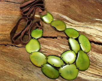 Green Statement Necklace and Earring Set - Green Bib Necklace - Chunky Statement Necklace - Bold Chunky Necklace - Tagua Necklace 1011