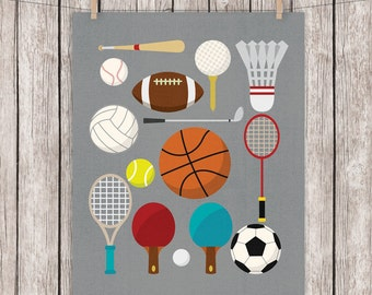 Printable Sports Art Equipment Balls Sport Art Print Home Decor Wall Art, 8 x 10 Instant Download Digital File