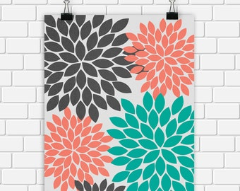 Flower Floral Art Print Coral Gray Turquoise Printable Art Print Spring Nature Wall Decor, 8x10 Instant Download Digital File