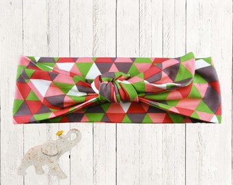 Peach Red Gray and Green Geometric Triangles on Cotton Knit Fabric - Top Knot Headband || Knotted Headband