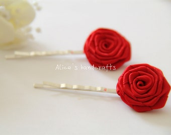 Set of 2 Double Faced Satin Ribbon Roses Red Bobby Pins. Handmade Bobby Pins. Ready to Ship