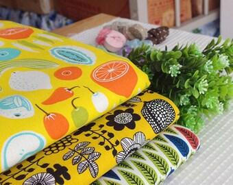 Fruit series flower | leaves | fruit cotton linen fabric bundle patchwork fabric bundle Quilted bundle bag fabric (3pcs/set)