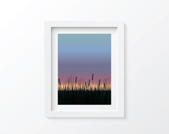 Cattail Sunset Hand Drawn Digital Print, Download and Print Instantly, Landscape, Sunrise Sunset, Colorful