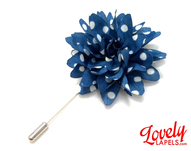 FLP1813 Flower Lapel Pin Blue with White Dots Silk Dahlia