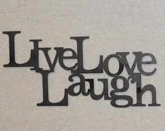 LIVE LAUGH LOVE Wood Word Art Sign Wall Decor Black