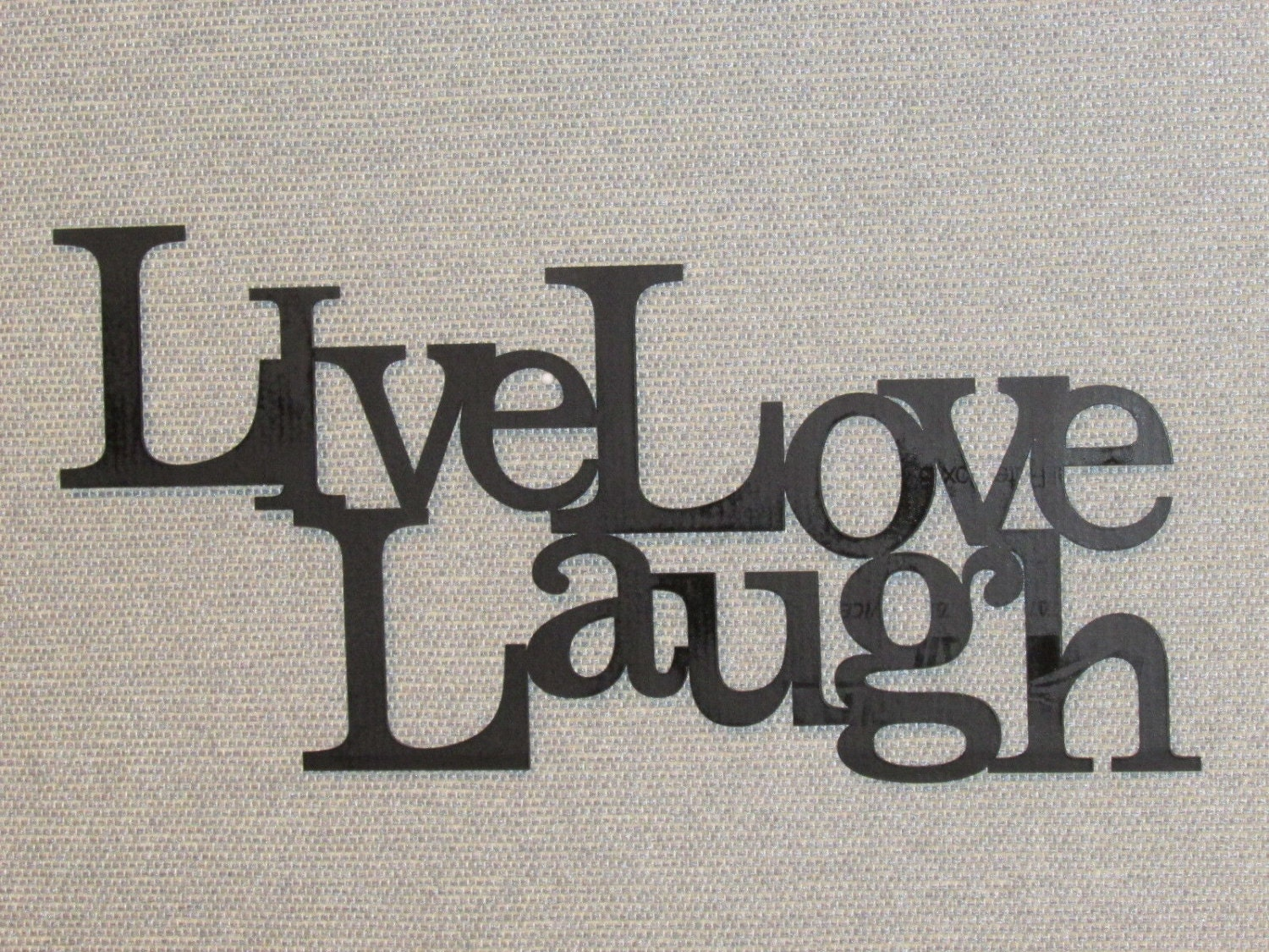 live laugh love wood word art sign wall decor black. Black Bedroom Furniture Sets. Home Design Ideas