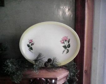 Paden City Pottery, Pink Rose, 13 1/2 Inch Platter