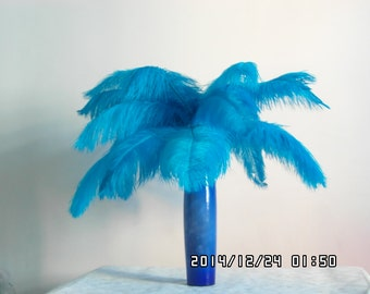 100pcs blue  Ostrich Feather Plume for Wedding centerpieces,