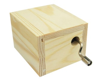 Musical Wooden Box Hand Crank Music Box DIY Customize Base