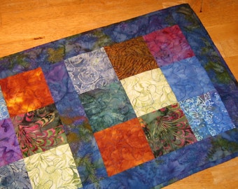 Colorful nine patch batik table runner