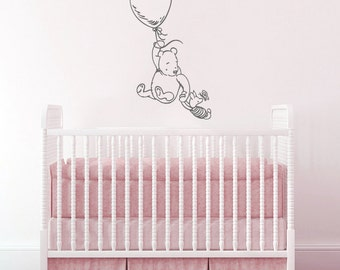Wall Decals Winnie the Pooh - Wall Decal Piglet Balloon Wall Decals Nursery Baby Room Art AN698