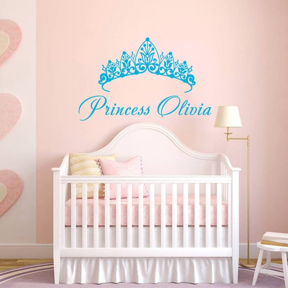 Baby Crown Wall Decor : Wall decal name girls vinyl sticker by trendywalldecals on