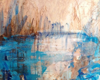 Original painting Light on the pond ink collage and acrylic on canvas abstract landscape