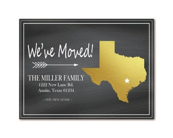 Texas Chalkboard Moving Announcement - We've Moved - Gold State Map - Just Moved - Printable