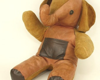Leather & Suede Stuffed Elephant Vintage Toy Animal