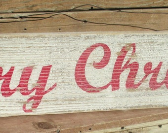 MERRY CHRISTMAS-Free Shipping-Antique Style Sign,Rustic,Reclaimed wood,Distressed, Holiday/Seasonal Home Decor,with hand wrapped wire hanger