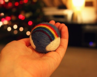 Needle Felted Rainbow Ball