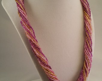 Pink and Gold Seed Bead Necklace - Twist or Drape