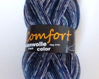 sock yarn, blue-flecked, 6ply (602.08b)