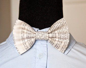 Typed Words Patterned Bow, Bow Tie, Pocket Square