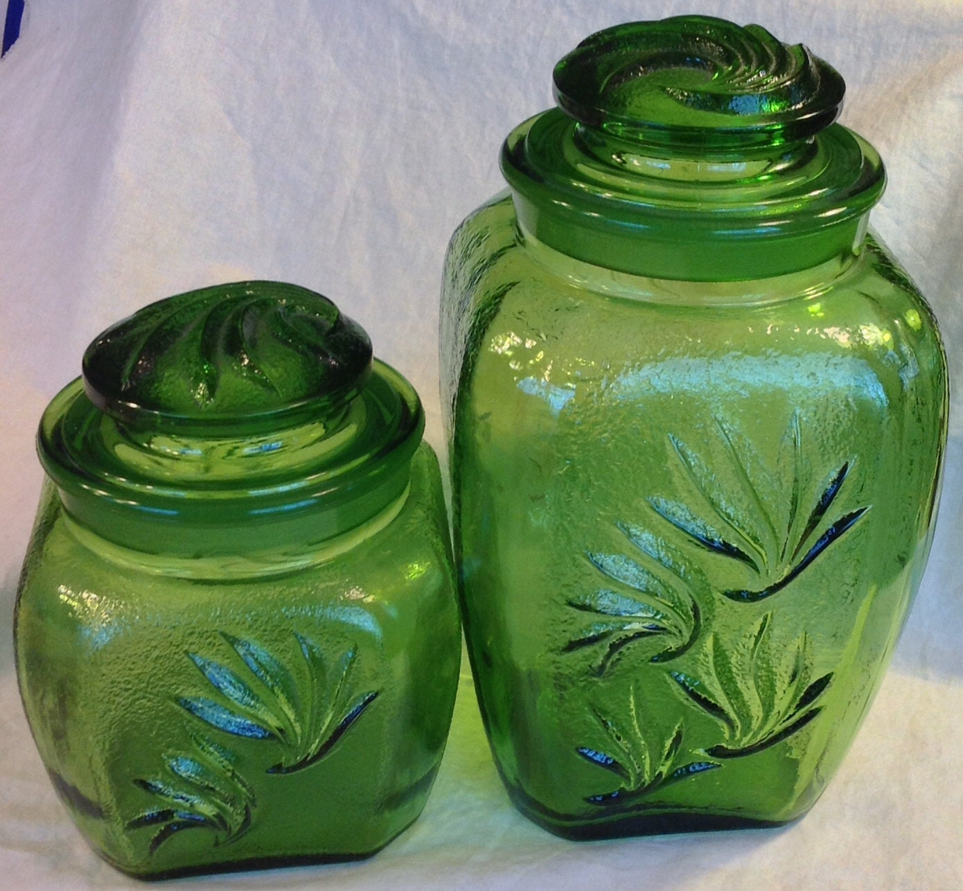 vintage glass canisters kitchen vintage green glass kitchen canisters jars 22581