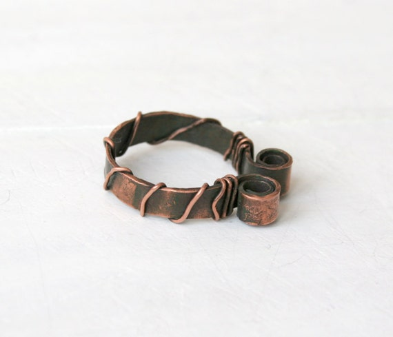 Hand Forged  Ring - Copper Ring - Rustic Texture Ring - Woman Copper Ring - Artisan Jewelry - Hammered Ring - Design ring - Primitive ring