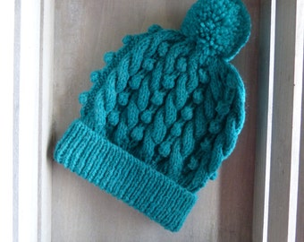 Cable & Bobble Knit Hat with Pom Pom in Turquoise