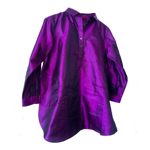 Violet Dark. Taffeta. Pure Silk. Mother pearl buttons. Handmade. Ribbons inside. cmz collection. cmz.
